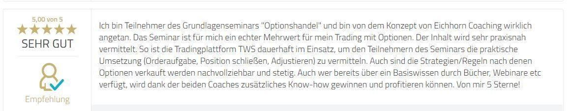 Grundlagen-Seminar Optionen Teilnehmerfeedback