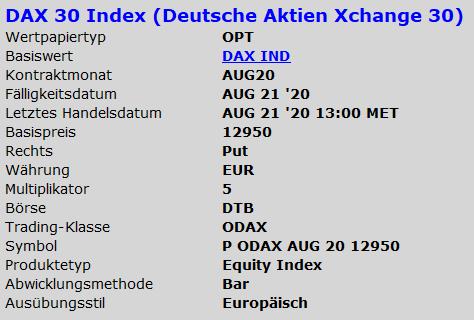 DAX-Optionen - Kontraktwert