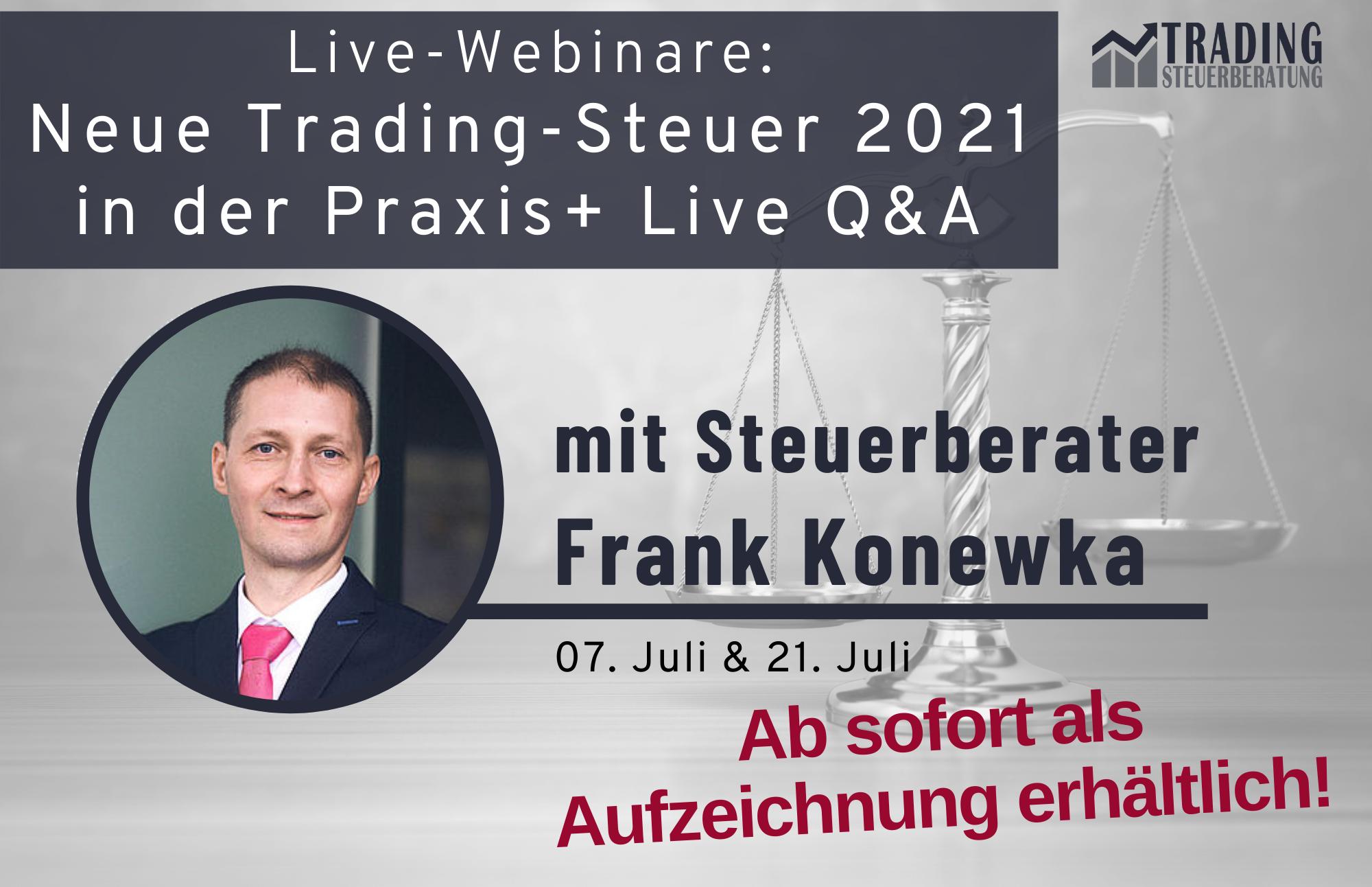 Trading Steuer 2021 Live Webinar