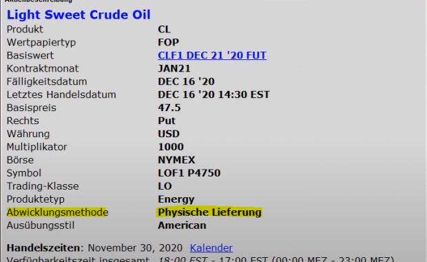 Physische Lieferung oder Cash Settlement - Beispiel Erdöl-Option